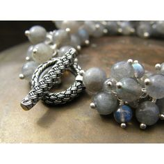 Sophisticated Labradorite Cluster Bracelet Wire Wrapped Grey Bracelet... (145 CAD) ❤ liked on Polyvore featuring jewelry, bracelets, grey jewelry, cluster jewelry, bohemian style jewelry, boho style jewelry and bohemian jewelry