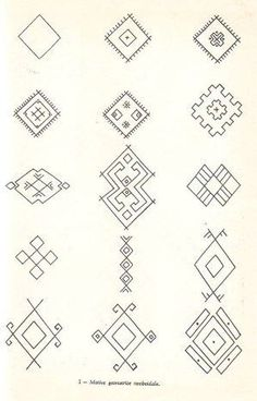 Simboluri arhaice romanesti Embroidery Tools, Folk Embroidery, Hand Embroidery Designs, Embroidery Patterns, Ancient Symbols, Ancient Art, Romanian Lace, Foto Transfer, Poke Tattoo