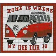 Volkswagen VW Camper Red Home Sampler Cross Stitch Kit