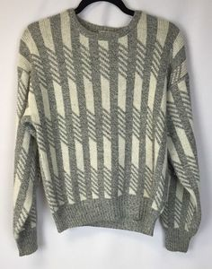Cosi Sweater Gray White Wool Blend Italy Cosby Style S #Cosi