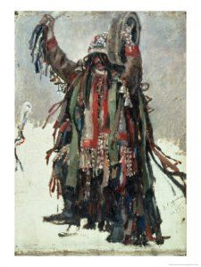 """A Shaman, Sketch for """"Yermak Conquers Siberia,"""" 1893 Giclee Print by Vasilii Ivanovich Surikov Oil On Canvas, Canvas Prints, Art Prints, Origin Of Christmas, Modern Christmas, Christmas Tree, Original Santa Claus, Witch Doctor, Anthropologie"""
