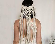 Hippie Bride, Hippie Boho, Slow Fashion, Boho Fashion, Macrame Headband, Bohemian Beach Wedding, Bride Accessories, Festival Looks, Crown Hairstyles
