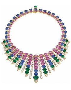 http://rubies.work/0533-sapphire-ring/ Emerald, sapphire, and diamond necklace by Bulgari. Via Diamonds in the Library.