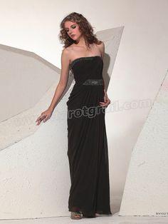 Chiffon Strapless Neckline Sequined Trim Full Length Sheath Style Evening Dresses