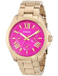 Fossil Women's AM4539 Cecile Multifunction Stainless Steel Watch - Gold-Tone with Pink Dial