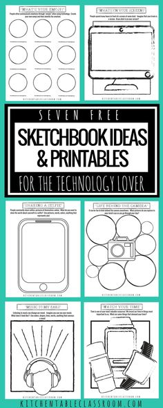 Use these free sketchbook printables in your art class or homeschool art to get kids to think creatively and consciously about the role of technology in their lives.