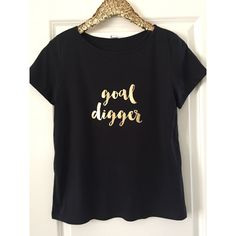 Goal Digger T-Shirt With Gold Foil Gift for Her Boss Gift Coworker... ($17) ❤ liked on Polyvore featuring tops, t-shirts, black, women's clothing, tee-shirt, t shirt, gold foil t shirt, lightweight t shirts and gold foil shirt