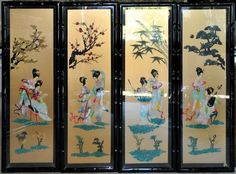 PictureHuge Korean mother of pearl lacquer painting showing a natural scenery