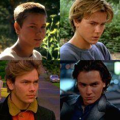 The evolution of River Phoenix: Chris Chambers (Stand by Me - 1986), Danny Pope (Running on Empty - 1988), Mike Waters (My Own Private Idaho - 1991), and James Wright (The Thing Called Love - 1993)