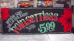 Trader Joe's Poinsettia Chalkboard Sign by sueism1