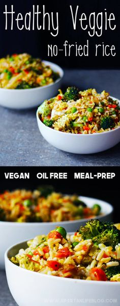 Veggie No-Fried Rice, a healthy vegan meal-prep idea with brown rice, fresh roasted vegetables, and tofu scramble.