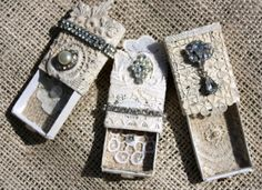 pretty little boxes, good for scraps of lace and buttons and mismatched vintage earrings and things.