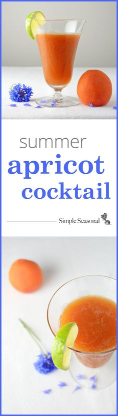 Summer Apricot Cocktail - a seasonal blend of fresh apricots, gin, and dry vermouth. This is a perfect all-natural drink for sipping on a warm summer night, and it's made from ingredients that most people already have in their liquor cabinet! Get the full