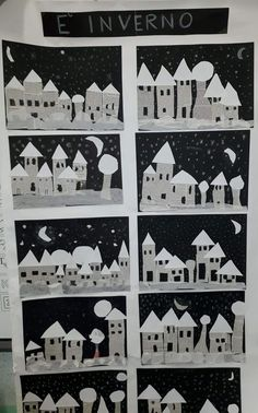 Město z novinového papíru Activity story- Activité conte Activity story - Winterlandschaft malen ️ Village d'hiver ❄️ Winter Art Projects, Winter Project, Winter Crafts For Kids, Winter Kids, Art For Kids, Kids Crafts, Kindergarten Art, Winter Activities, Art Classroom