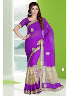 Ethnic Wear Purple Georgette Saree  - 78684