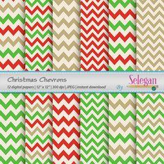 Christmas Chevrons, Digital Paper, Scrapbooking, Paper, 12x12, Printable, Christmas, Xmas, Pattern, Chevron, Texture, Background by Selegan on Etsy