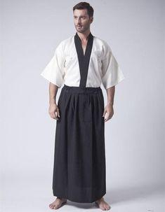 Japanese Men's Satin Kimono With Obi
