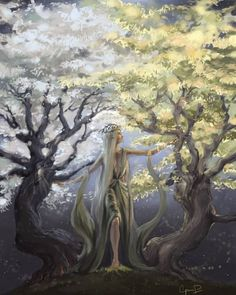 Yavanna with the Two Trees, Laurelin and Telperion Two Trees, Jrr Tolkien, Middle Earth, Lord Of The Rings, Lotr, Faeries, The Hobbit, Fantasy Art, Illustration Art
