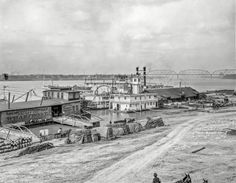 """LOUISVILLE: Circa 1905. """"Ohio River levee at Louisville, Kentucky."""" Note the """"U.S. Life Saving Station."""" 8x10 inch glass negative, Detroit Publishing Company."""