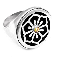 Sterling silver ring with lotus flower detail ebony inlay and citrine Lotus Flower, Sterling Silver Rings, Jewelry Design, Bangles, Detail, Flowers, Jewellery, Studio, Etsy
