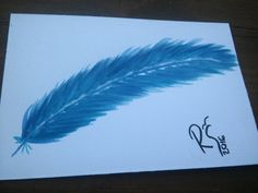 Blue feather postcard Feather painting Watercolor by RSwatercolor