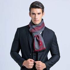 Luxury Business Men Scarf silk Cashmere Scarf Shawl Size: about 180 x 30 cm Mens Knitted Scarf, Plaid Scarf, Men Scarf, Poncho Shawl, Fall Scarves, Cashmere Scarf, Scarf Styles, Womens Scarves, Autumn Fashion