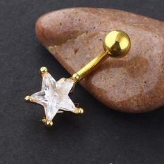 χρυσά σκουλαρίκια αφαλού με αστεράκια πεταλούδες και χρωματιστές πέτρες Belly Button Piercing, Body Piercing, Belly Button Rings, Belly Piercings, Stainless Steel Screws, Barbell, Body Jewelry, Dangles, Metal