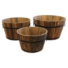 Display lush greenery and vibrant blossoms in this rustic-chic wood planter set, showcasing weathered paneling and metal accents.   ...