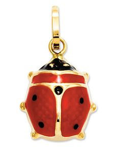 14k Gold Charm, Red Enamel Ladybug Charm - Charms - Jewelry & Watches - Macy's