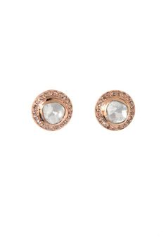 The Woods Raw Diamond Stud Earrings in Rose Gold at ShopGoldyn.com