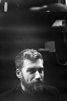 Beard, hair. Black and white.