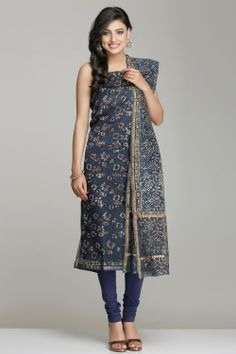 Block Printed Unstitched Suits   Dark Indigo Blue Unstitched Maheshwari Suit With Abstract Floral Jaal Hand Block Print   IndiaInMyBag.com