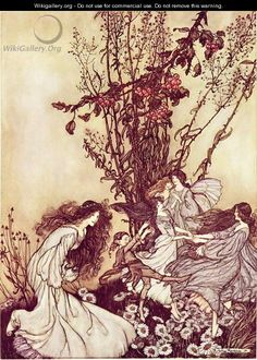 Dancing with the Fairies from Peter Pan in Kensington Gardens by J.M. Barrie, 1906 - Arthur Rackham