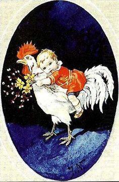 Boy Riding Cock -- Jenny Nystrom (1854 – 1946, Swedish)
