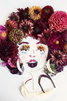 Whether it's a peacock with a vivid cascading tail or a colorful portrait of Frida Kahlo, each piece of whimsical artwork created by Bridget Collins is unique and extraordinary. #flowerart #flowercrafts #bhg