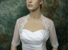 Ivory elbow length sleeve dot lace bolero bridal shrug bridal