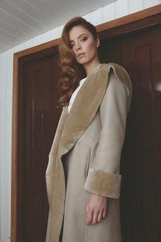 Gushlow & Cole AW13 Lookbook Merino Shawl Coat  #sheepskin #shearling #madeinengland #gushlowandcole