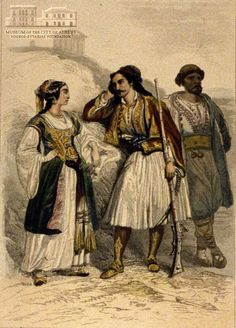 www.villsethnoatlas.wordpress.com (Grecy, Greeks) ADOL ROUARGUE (1810-) & EMILE ROUARGUE (1795-1865) (painters) & ROUARGUE FRERES (engravers) Greek attire coloured zinc engraving, 18 x 12 cm Greek Traditional Dress, Traditional Outfits, Folk Costume, Costumes, Greek Independence, Empire Ottoman, Greek Warrior, Twelfth Night, Greek Art