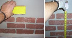 Faux Brick Wall or floor, Step by step instructions as to how I made my kitchen faux brick wall., Start by stamping bricks at the bottom of ...
