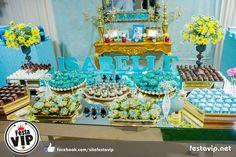 Decoração 15 Anos com Azul Tiffany e Amarelo festa de debutante