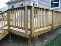 Deck railing isn't just a security feature. It can add a stunning visual to mount a decked location or deck. These 36 deck railing ideas show you exactly how it's done! Wood Deck Railing, Deck Railing Design, Patio Deck Designs, Deck Railing Ideas Diy, Patio Stairs, Deck Guardrail Ideas, Patio Design, Porch Handrails, Patio Ideas