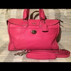 Authentic Coach Rhyder Satchel in Pink SOLD OUT Beautiful Barbie pink coach bag that is sold out of stores. Strap can be attached for a cross body or can turn into a handbag. Used once. Two large dust bags included! This bag is not on eBay or Poshmark Coach Bags Crossbody Bags