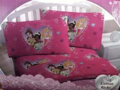 "Disney Princess Full Sheet Set by Disney. $39.94. Disney Princess Cotton Rich Full Sheet Set. 2 Standard Pillowcases (20"" X 30""). 60% Cotton/ 40% Polyester. 1 Full Flat Sheet (54"" X 75""). 1 Full Fitted Sheet (54"" X 75""). This Disney Princess Sheet Set is Cotton Rich and will add vibrant colors to your child's bedroom decor. A must have for Disney Princess Lovers and a wonder gift to any young girl."