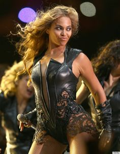 Leather and lace. Beyonce is everything.