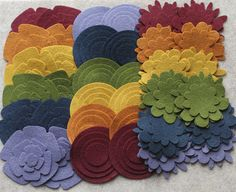 Quilters Bouquet - Super Pack - 132 Die Cut Wool Felt Flowers and Circles. $21.50, via Etsy.