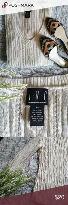 INC Sequence Silk Pullover Sweater Size Medium Sophisticated sequenced pullover made of silk and cotton so its luxurious feeling. No holes stains rips or missing sequence. In perfect condition. INC International Concepts Sweaters V-Necks