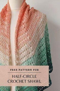 Crochet Shawl Diagram, Crochet Shawl Free, Crochet Shawls And Wraps, Crochet Scarves, Crochet Clothes, Crochet Stitches, Knit Crochet, Crochet Pattern, Free Pattern