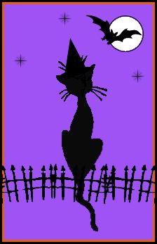 ☆ A little cat wearing her very best witch hat watches her friend the bat fly across the moon -::- By SkullBlossom ☆