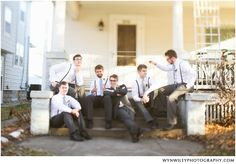 Groomsmen with suspenders. I would swap ties with bow ties a d black shoes with brown.