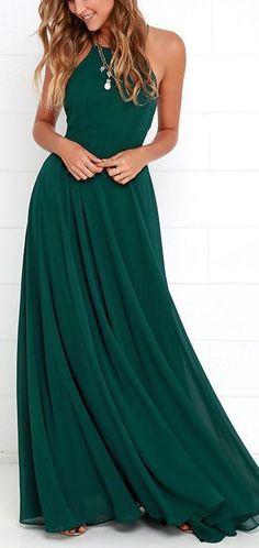 Dark Green Maxi Dress ==